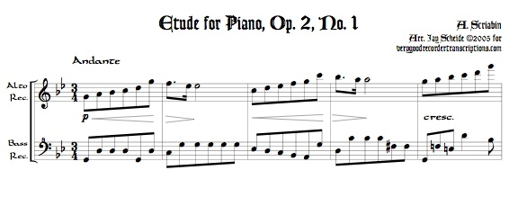 Étude for Piano, Op. 2, No. 1, arr. for alto & bass recorders