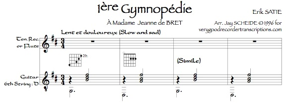 *3 Gymnopédies* arr. for tenor recorder, doubling alto, and guitar