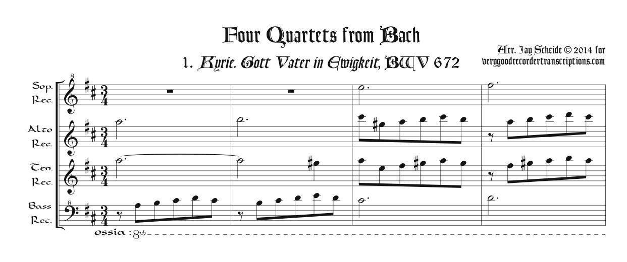 Four Quartets from Bach for SATB recorders