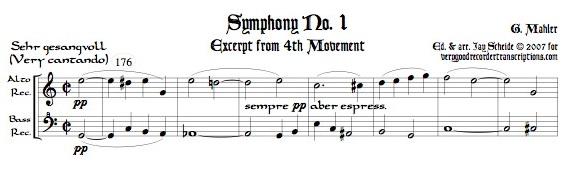 Excerpt from Symphony No. 1, 4th Mvmt., arr. for alto & bass recorders
