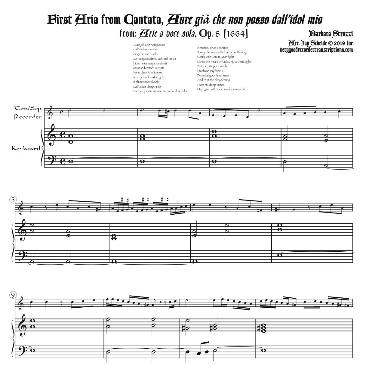 """Aria from the Cantata """"Aure già che"""" from *Arie a voce sola*, Op. 8, arr. for tenor or soprano recorder & keyboard"""