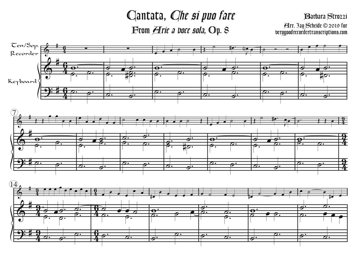 "Cantata, ""Che si puo fare"" from *Arie a voce sola*, Op. 8, arr. for tenor or soprano recorder & keyboard"
