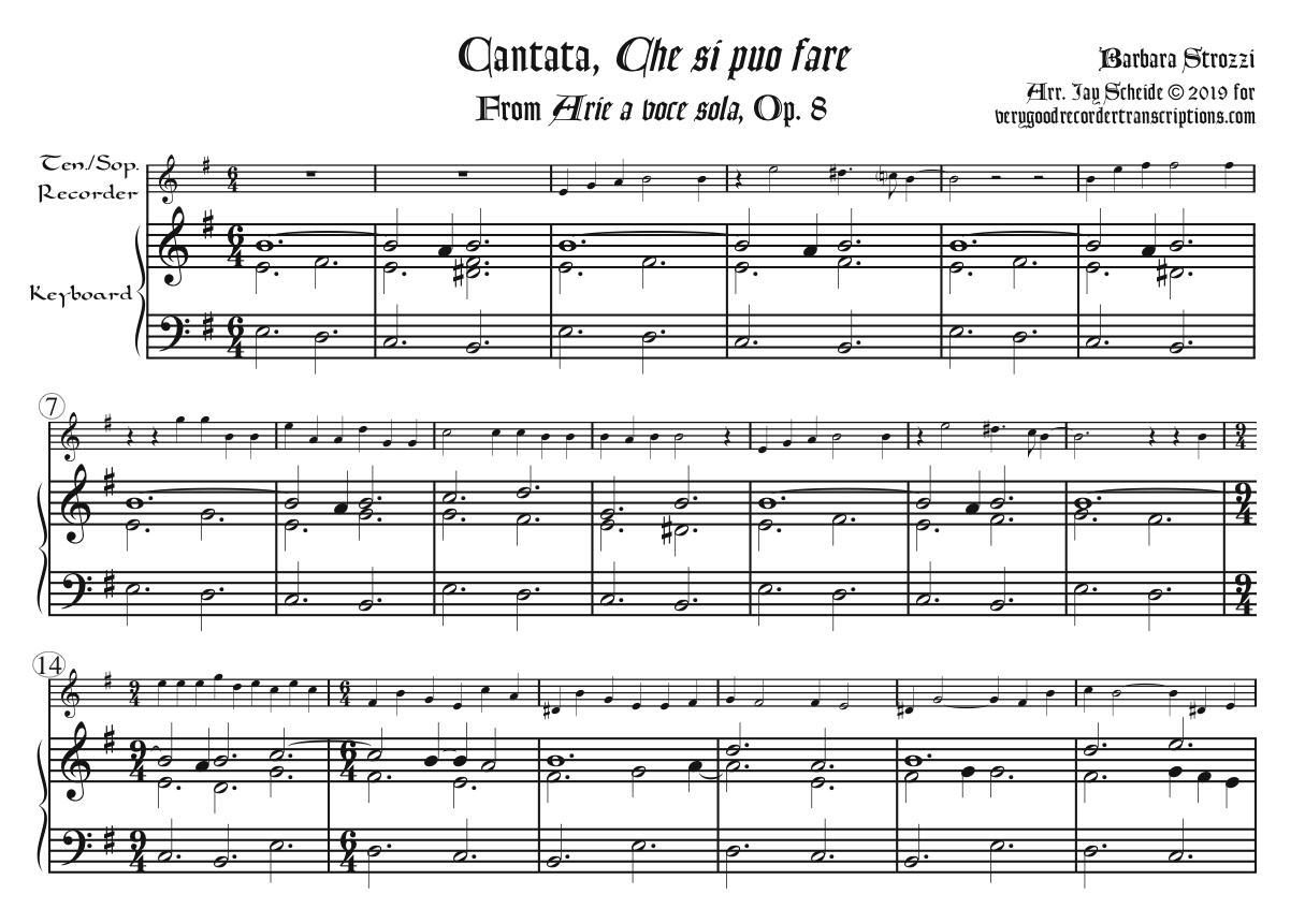 "Cantata, ""Che si puo fare"" from *Arie a voce sola*, Op. 8, arr. for tenor or soprano recorder & keyboard"
