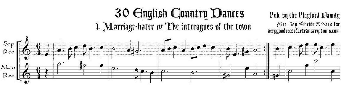 30 English Country Dances for soprano and alto recorders