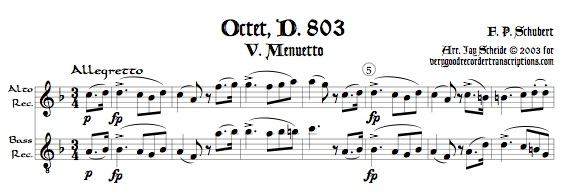 Menuetto from Octet, D. 803, arr. for alto & bass, or, for soprano & tenor recorders