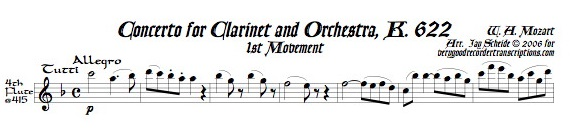 """Concerto for Clarinet and Orchestra, K. 622 (See also """"Pieces for Recorder & Keyboard"""")"""