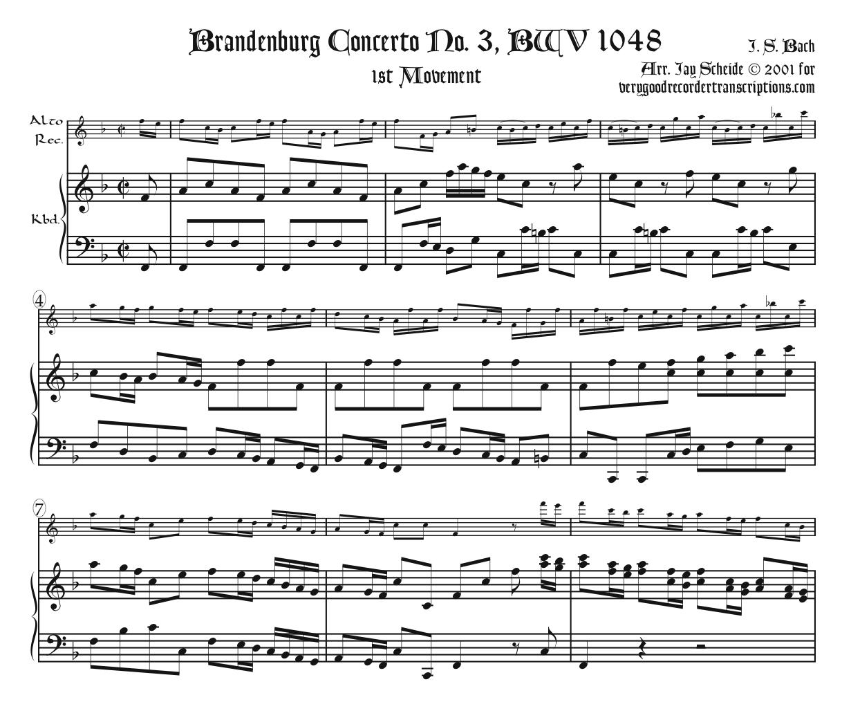 Brandenburg Concerto No. 3, BWV 1048, with added middle-movement choices