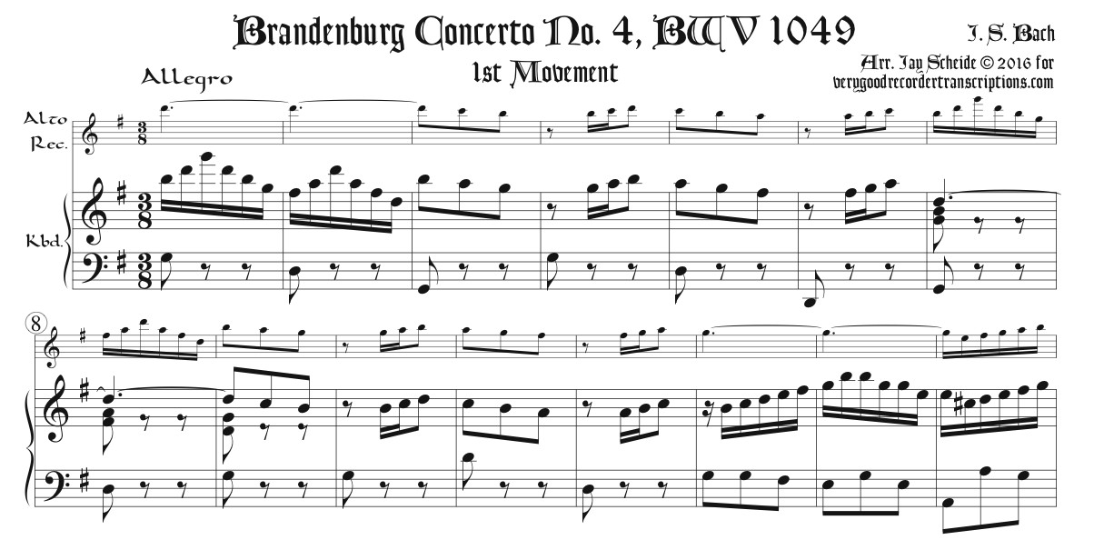 Brandenburg Concerto No. 4, BWV 1049, for Alto in F or G