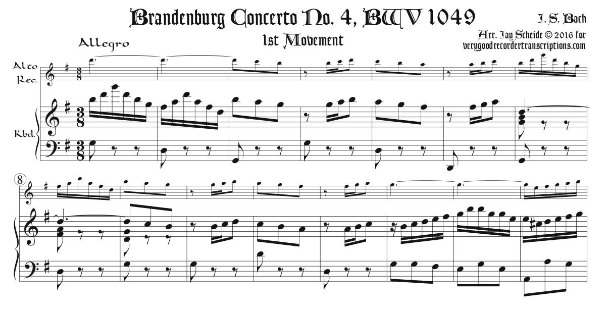 Brandenburg Concerto No. 4, BWV 1049, for Alto in F or G