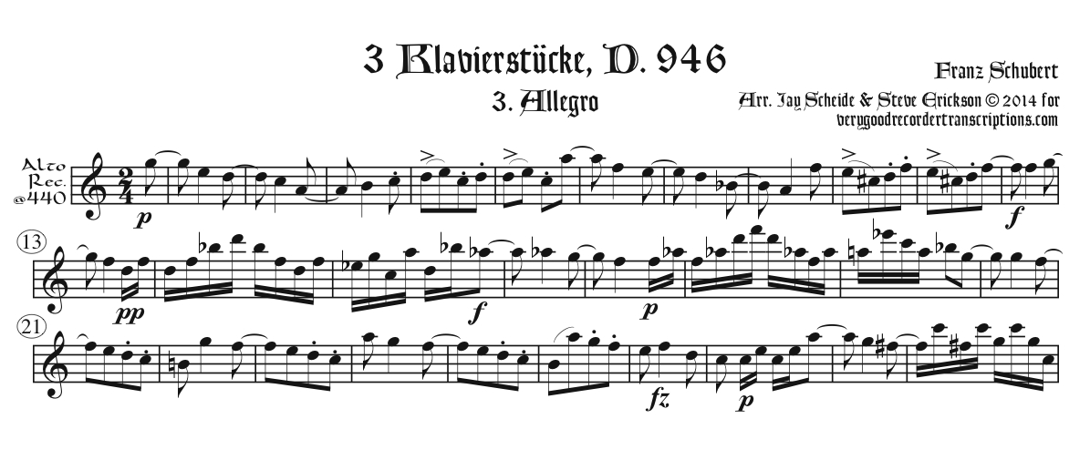 No. 3 from Klavierstücke, D. 946, arr. for alto recorder @440, doubling voice flute @415