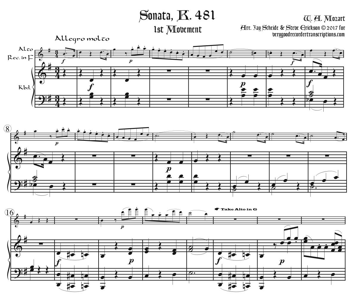 Sonata K. 481, arr. for alto in F doubling alto in G