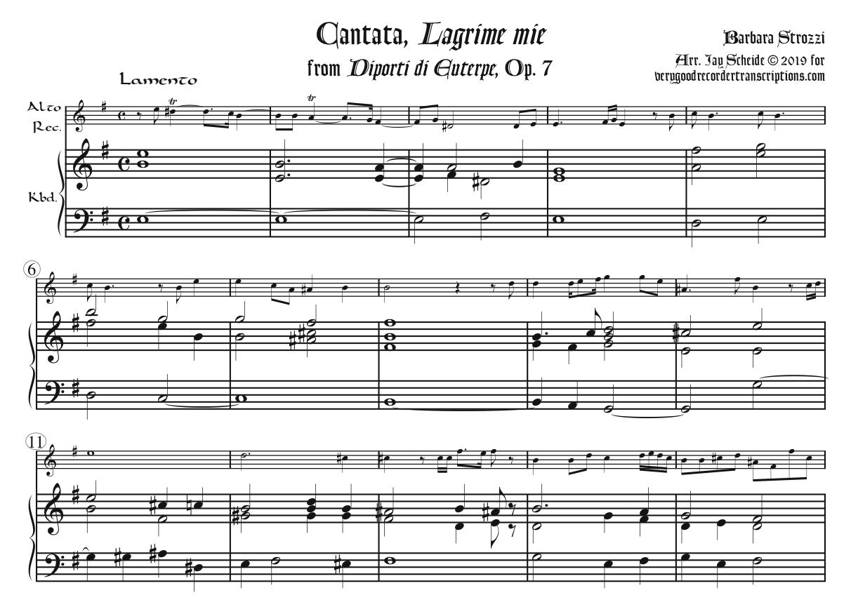 """Cantata, """"Lagrime mie"""", from *Diporti di Euterpe*, Op. 7, arr. for tenor or soprano recorder & keyboard"""