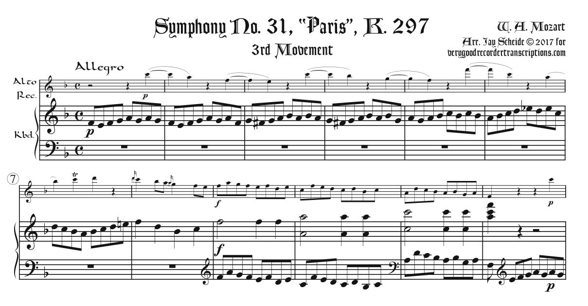 """Paris"" Symphony, K. 297, Finale, for alto recorder, doubling soprano or tenor, & keyboard"