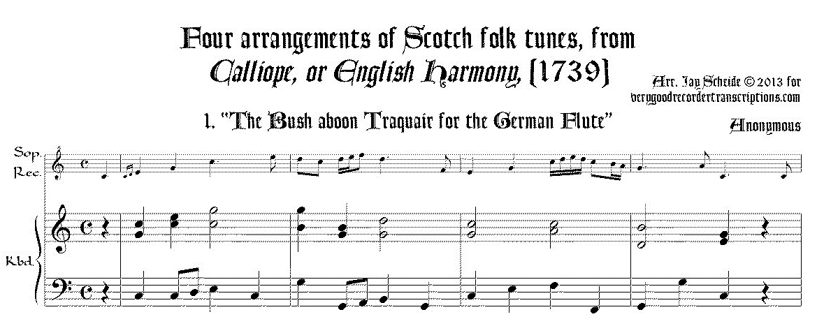Four Scotch tunes from *Calliope* (1739) arr. for soprano recorder & keyboard