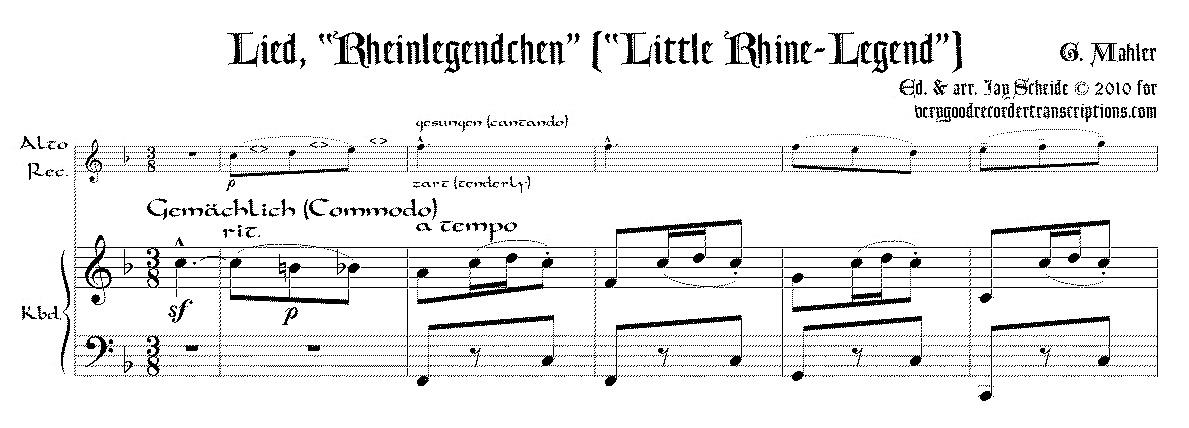 """Rheinlegendchen"" from *Des Knaben Wunderhorn* arr. for alto doubling C instrument"