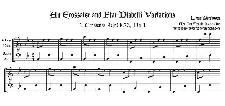 One Écossaise & Five Diabelli Variations, arr. for alto & bass recorders