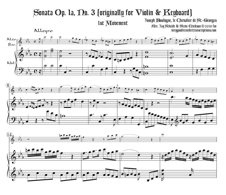 Sonata Op. 1a, No. 3, 1st Mvmt.