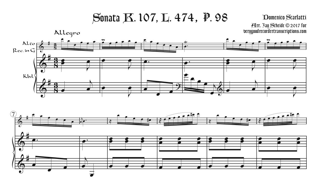 Sonata, K. 107, L. 474, P. 98, arr. for alto in G with optional switch to alto in F