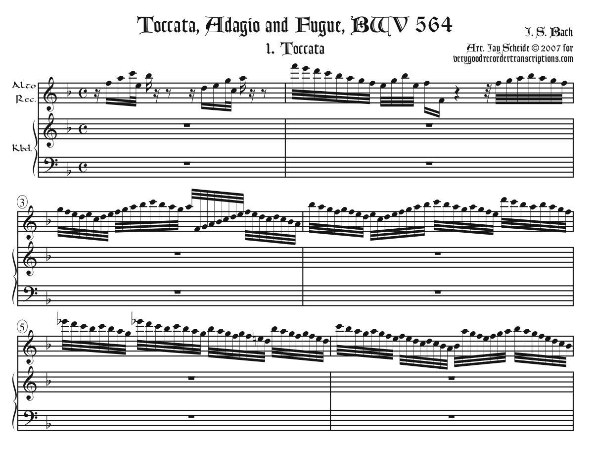 Toccata, Adagio, and Fugue, BWV 564 (now complete)