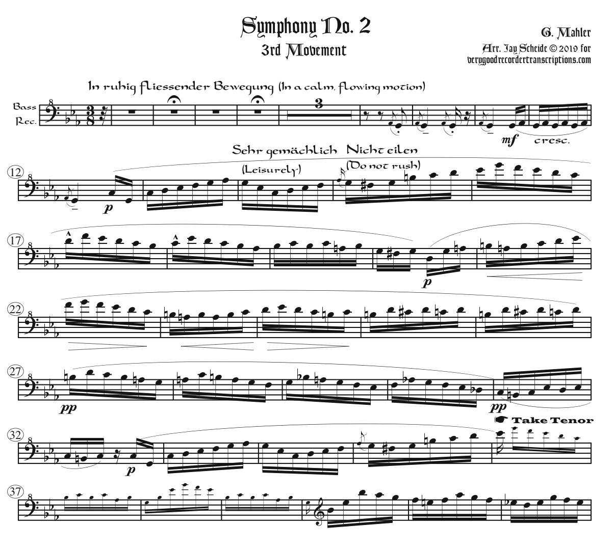 "Symphony No. 2 ""Resurrection"" complete, arr. for one player alternating between SATB, sopranino, and alto recorder in G"