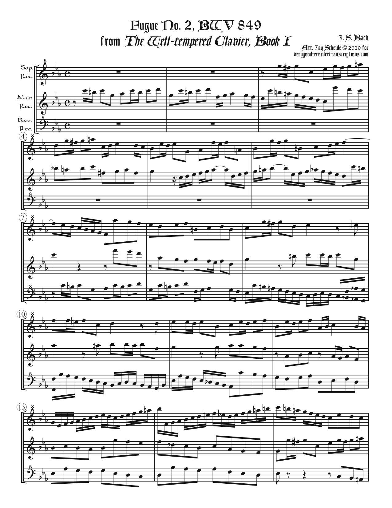 Fugue No. 2, BWV 849/2, arr. for SAB recorders