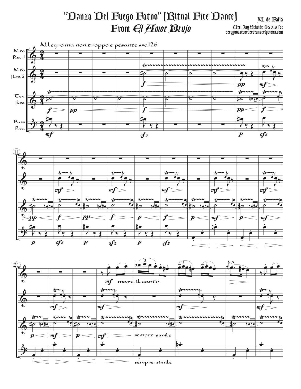 """Ritual Fire Dance"", from *El Amor Brujo*, arr. for recorder quartet"