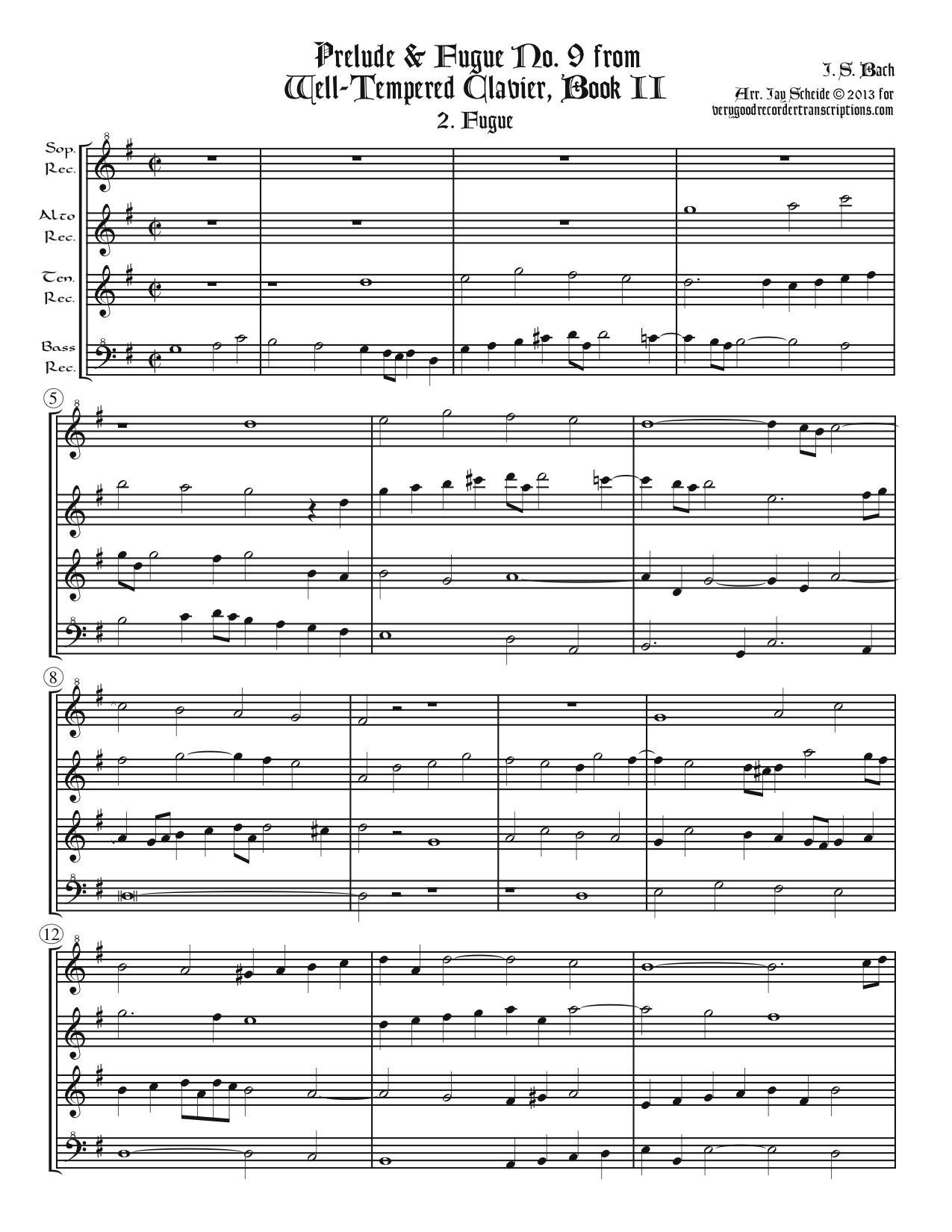 Fugue No. 9, BWV 878/2, arr. for SATB recorders