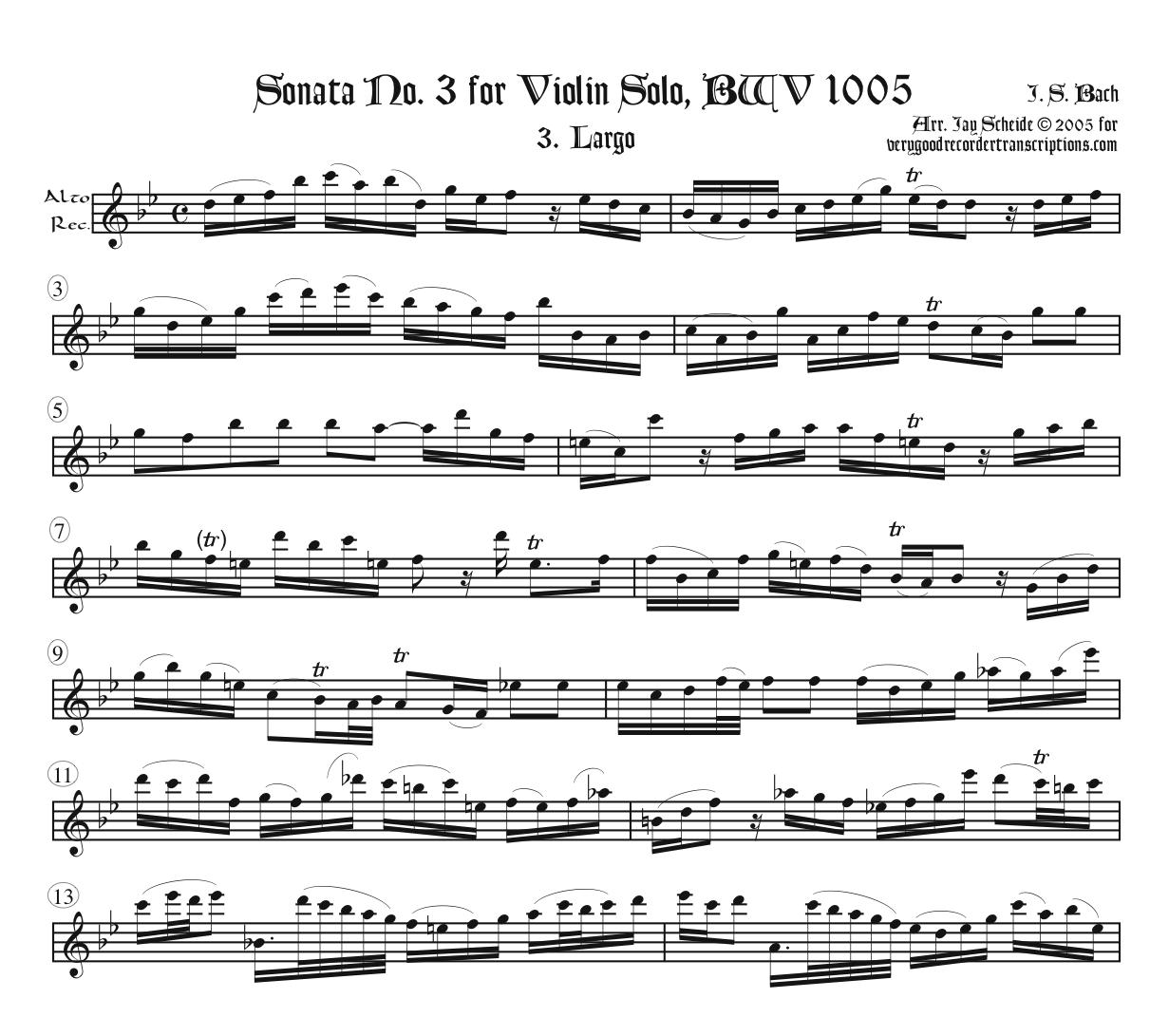 Largo & Allegro assai from Sonata No. 3, BWV 1005