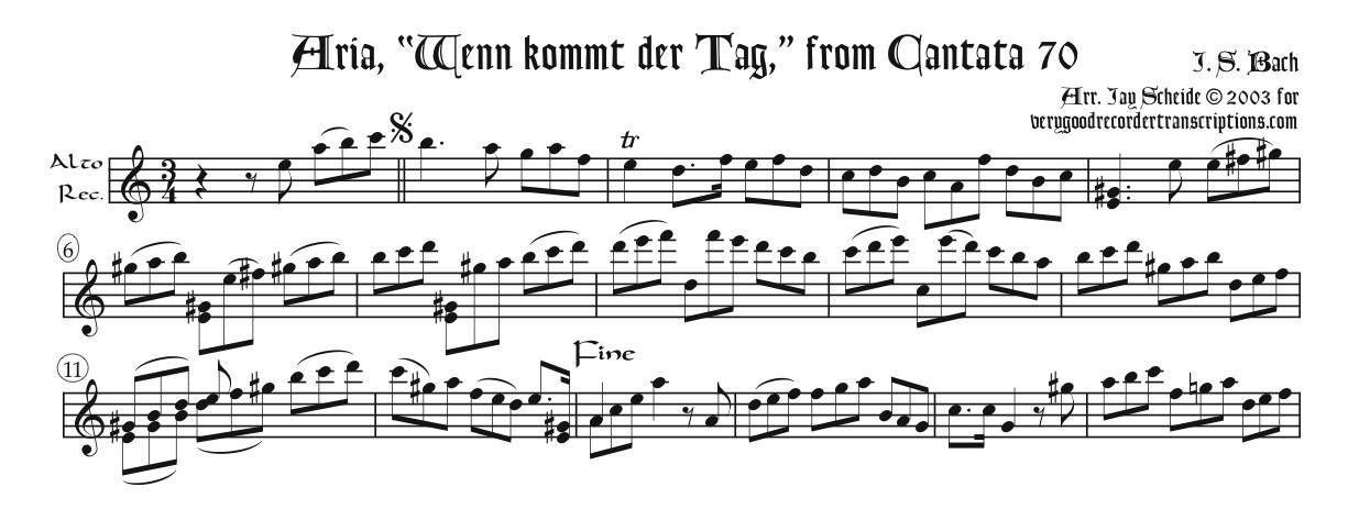 "Aria, ""Wenn kommt der Tag,"" from Cantata 70"