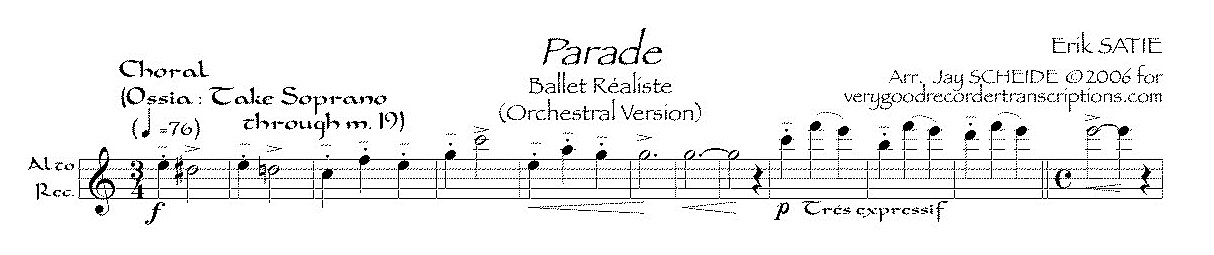 """*Parade*, """"Ballet réaliste"""" (from the Orchestral version)"""