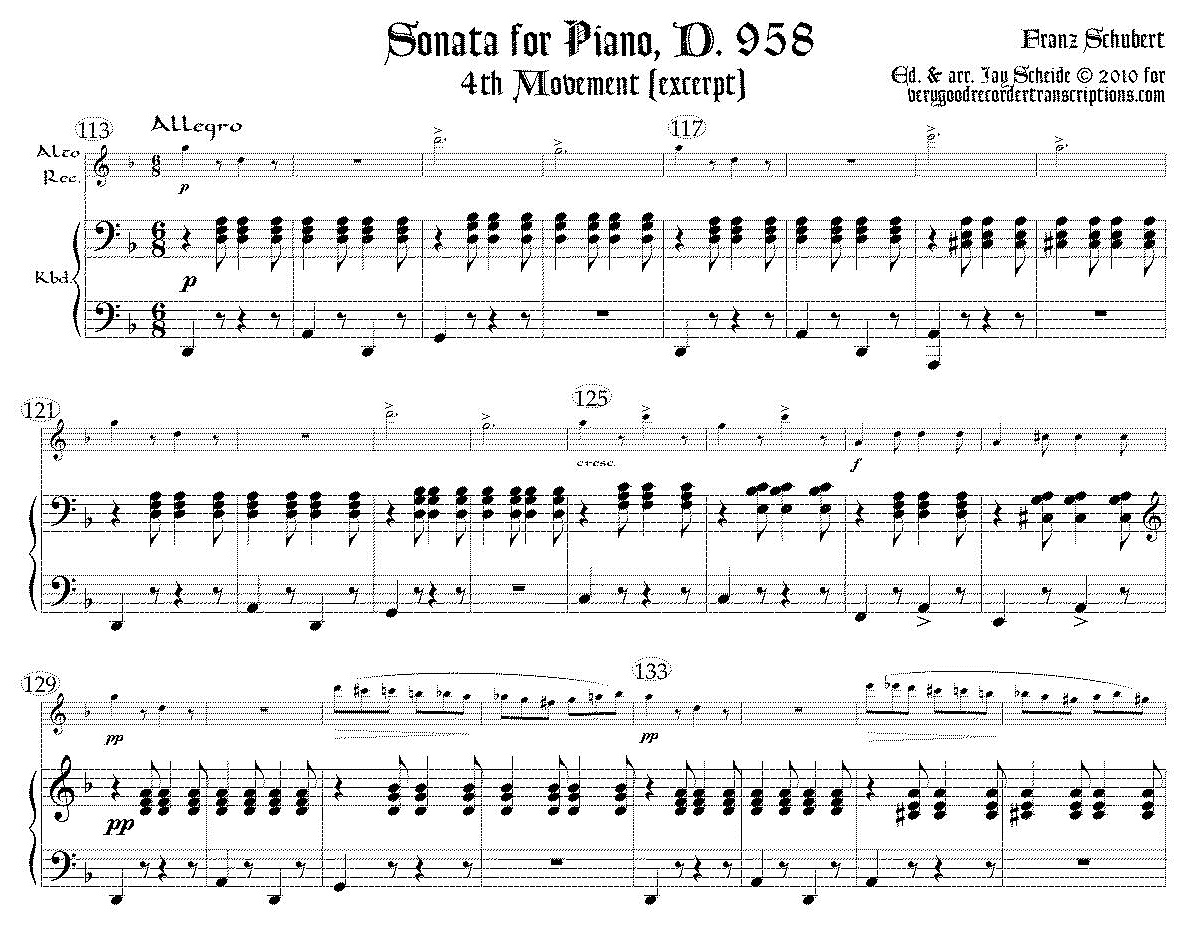 Excerpt from Piano Sonata, D. 958, 4th mvmt., choice of version for alto or bass recorders