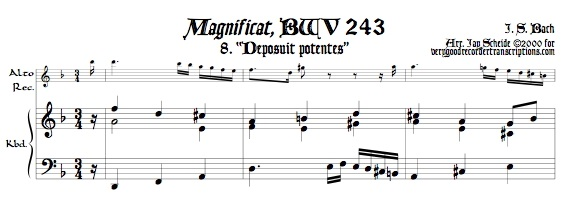 """Aria, """"Deposuit potentes"""" from *Magnificat*, BWV 243, transposed to d"""