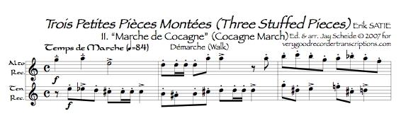 """""""Marche de Cocagne"""" from *3 Petites Pièces montées*, arr. for alto & tenor recorders"""