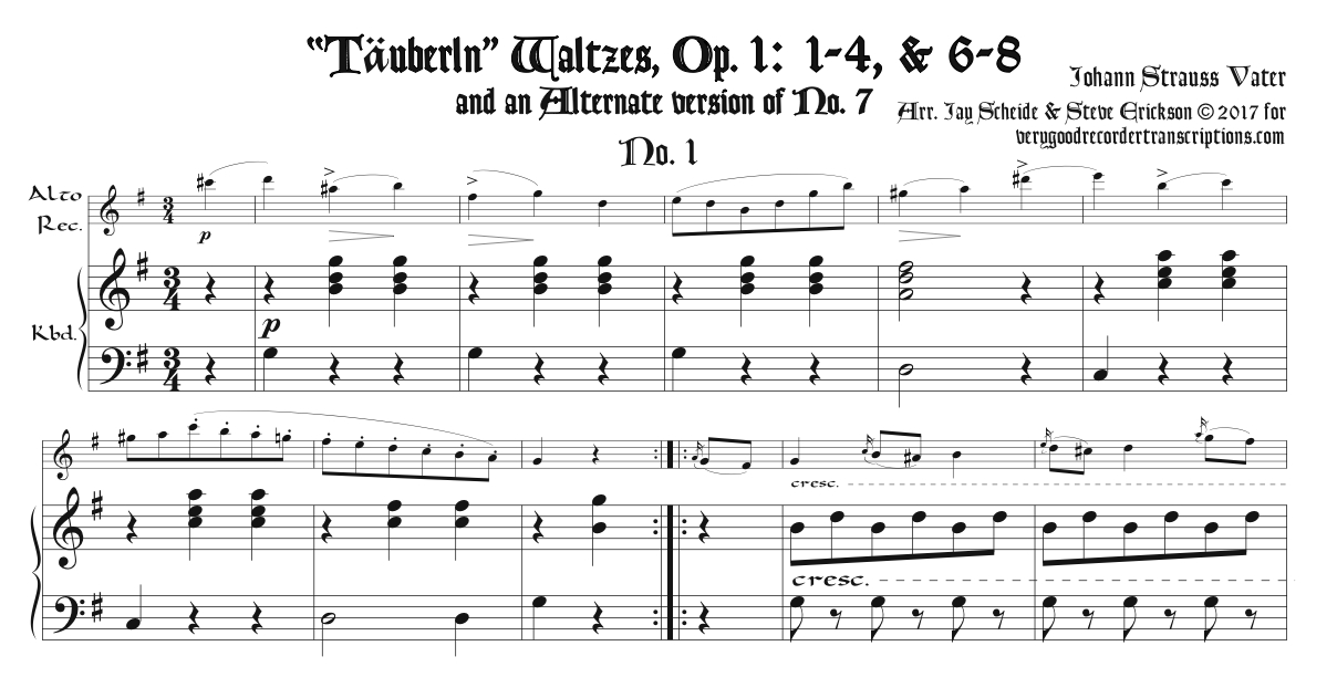 """Täuberln"" Waltzes, Op. 1, 1-8, excepting No. 5, for alto recorder doubling C & D instruments"