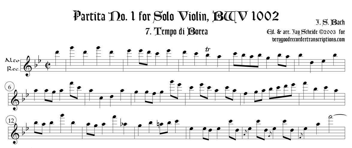 "Tempo di Borea & Double from Partita No. 1, BWV 1002 (See also ""Pieces for Recorder and Keyboard"")"