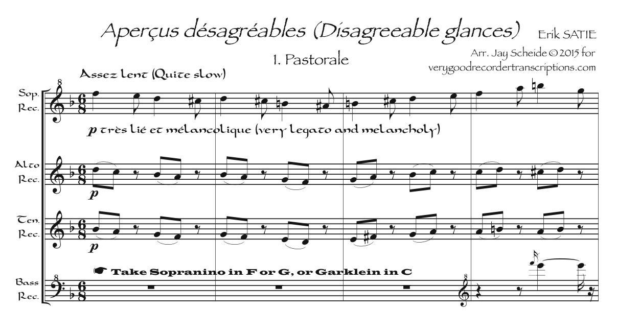 *Aperçus désagréables* arr. for Recorder Quartet