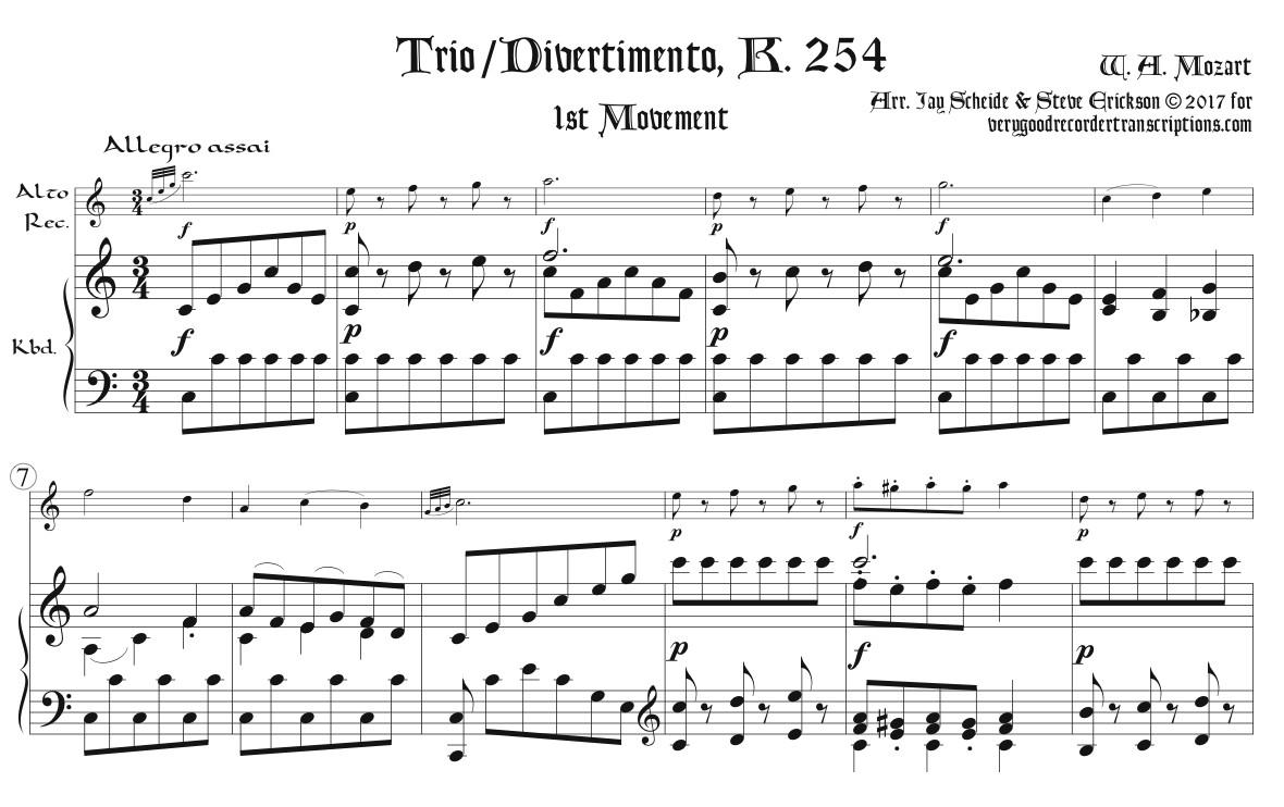 Trio/Divertimento K. 254, 1st Mvmt.