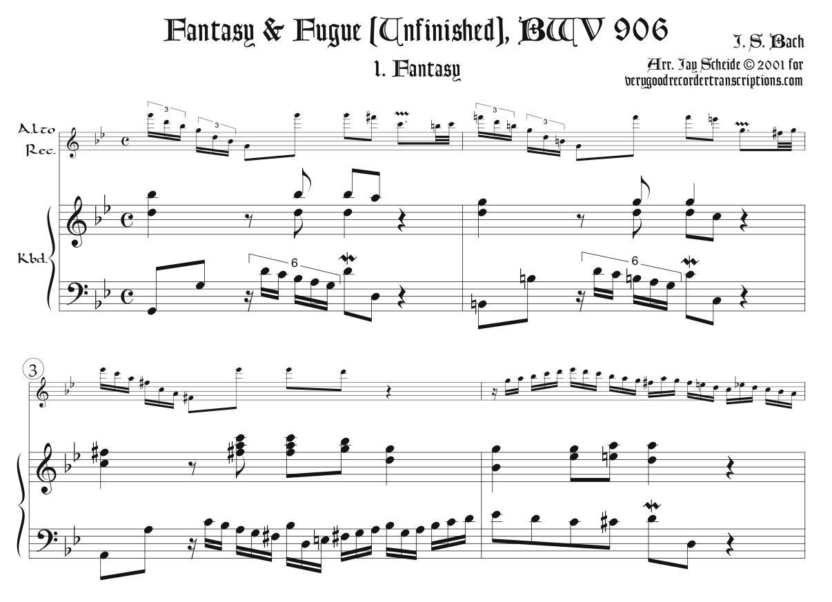 Fantasy & Fugue (Unfinished), BWV 906