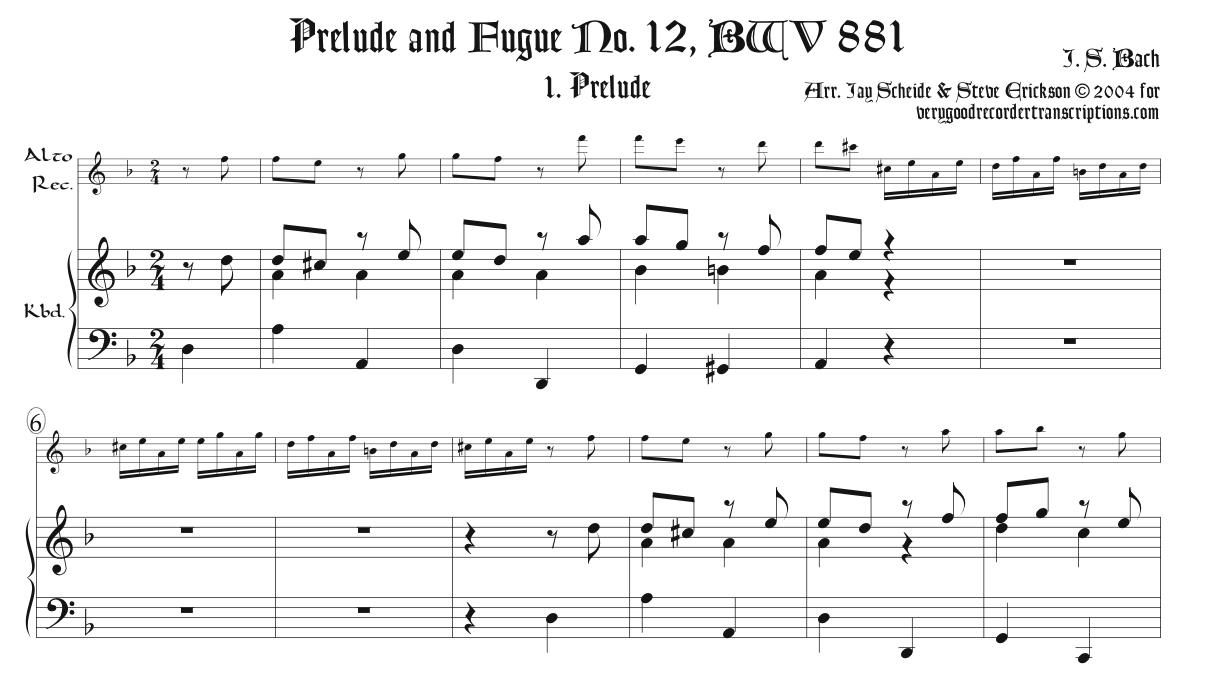 Prélude and Fugue No. 12, BWV 881