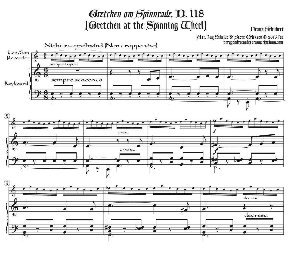 *Gretchen am Spinnrade*, D. 118, for tenor or soprano recorder & keyboard
