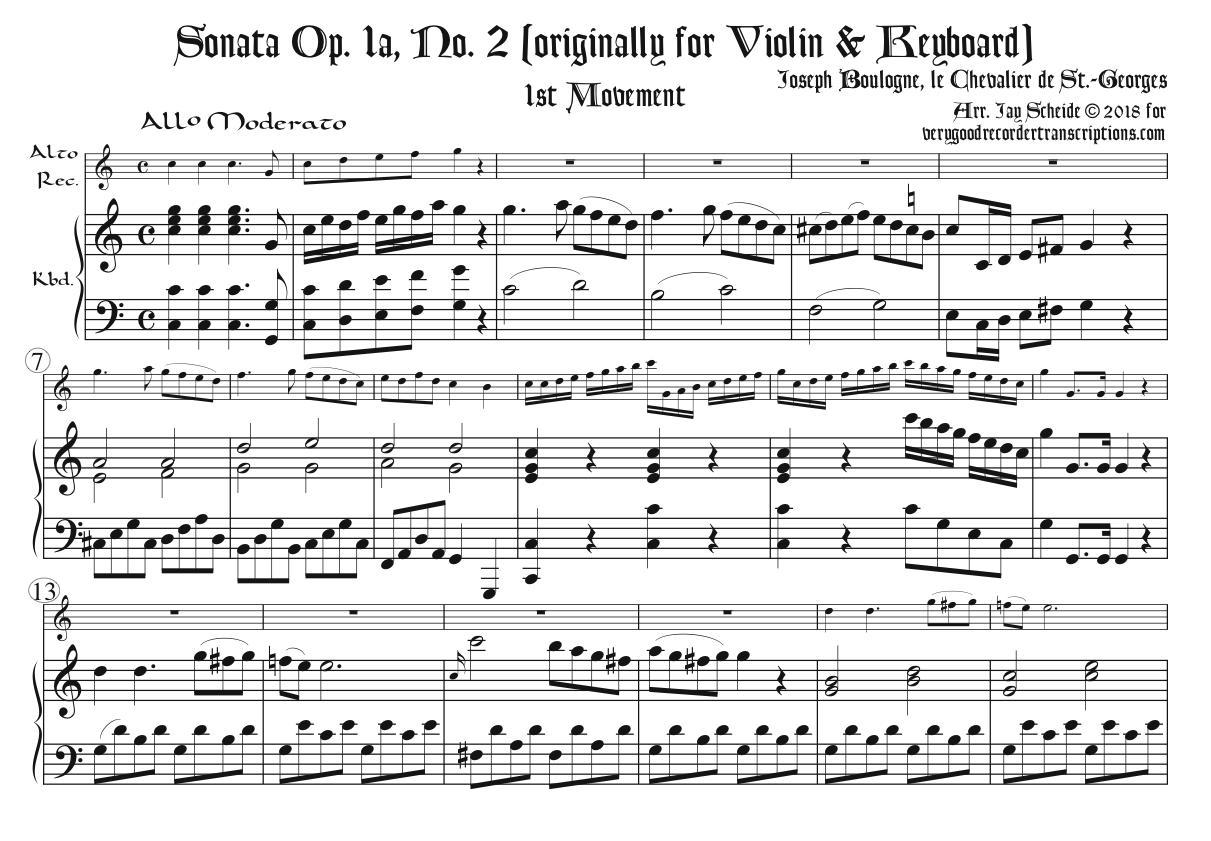 Sonata Op. 1a, No. 2, 1st Mvmt.
