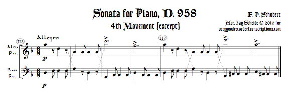 Excerpt from Piano Sonata D. 958, 4th mvmt., arr. for alto & bass recorders