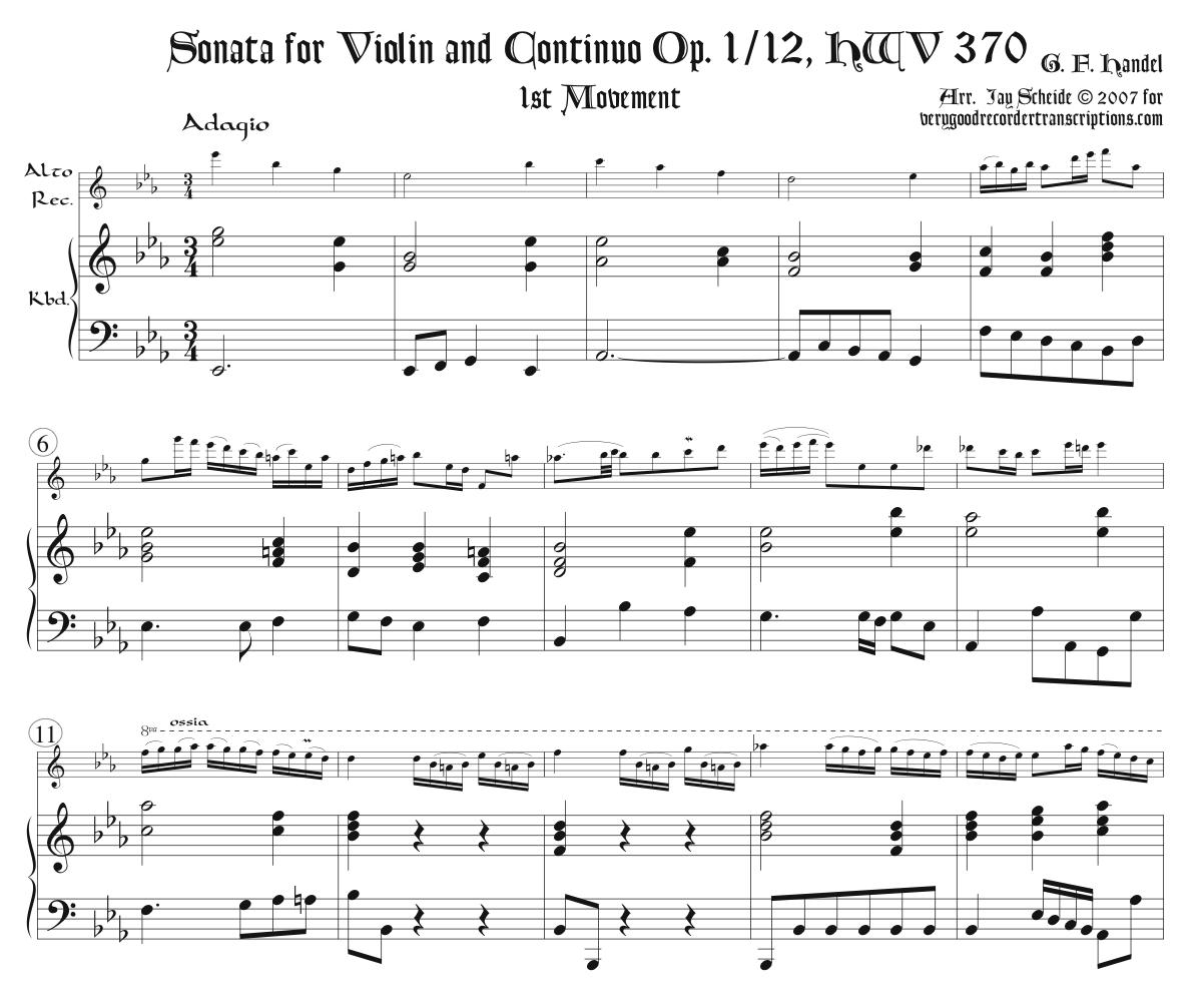 Sonata, Op.1 No. 12, HWV 370, 1st Mvmt., two versions