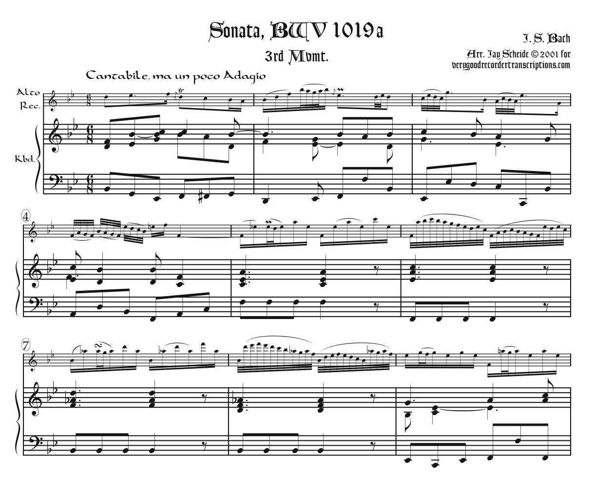Sonata, BWV 1019a, 3rd Mvmt.