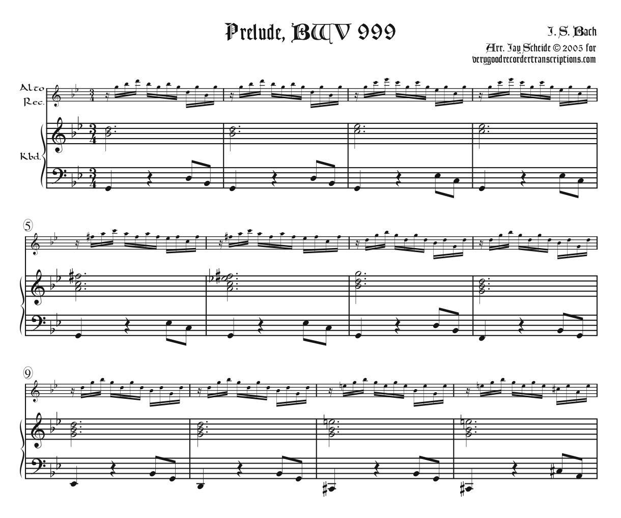 Prelude, BWV 999