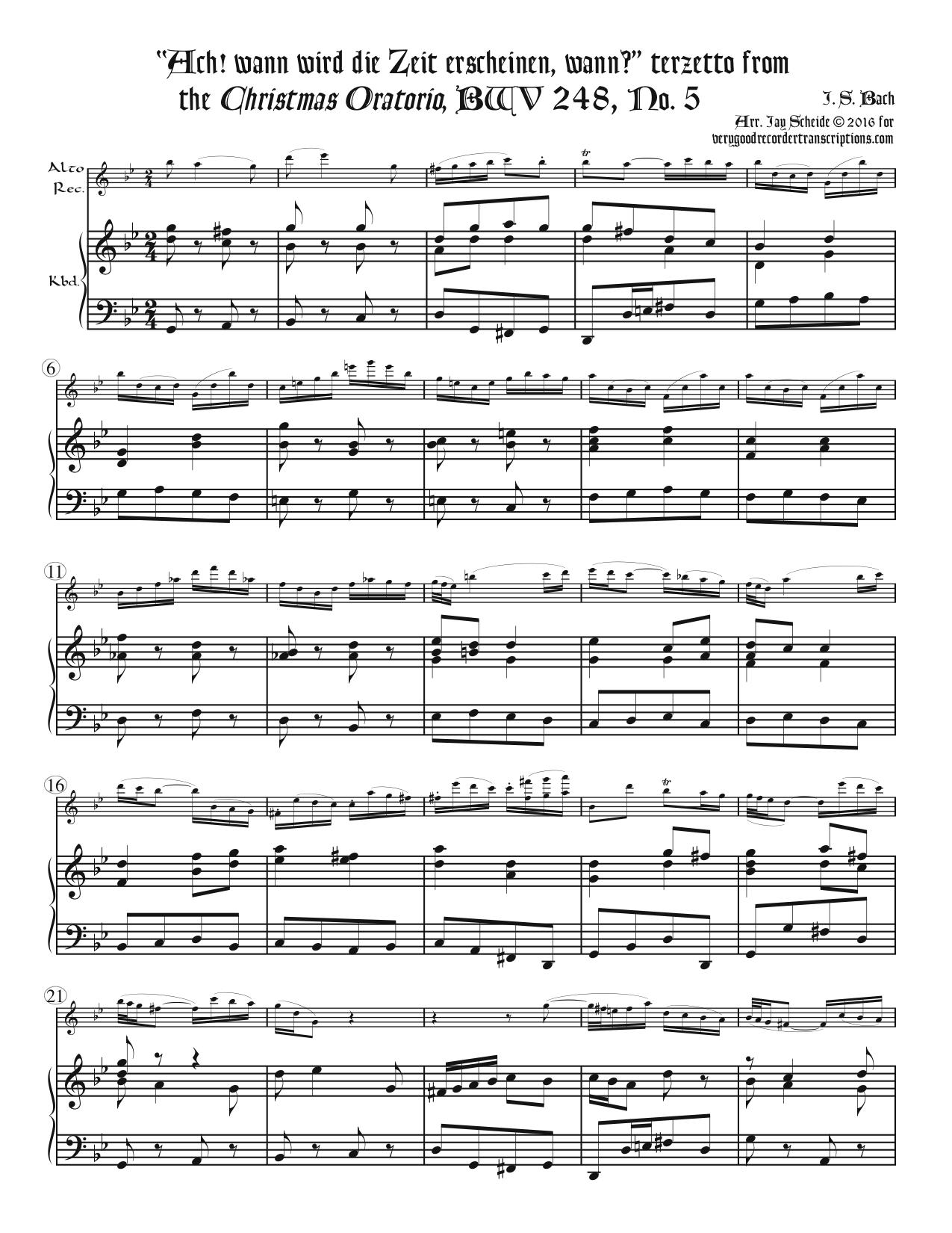 """Terzetto, """"Ach! wann wird die Zeit erscheinen, wann? """"from *Christmas Oratorio*, BWV 248, No. 5"""