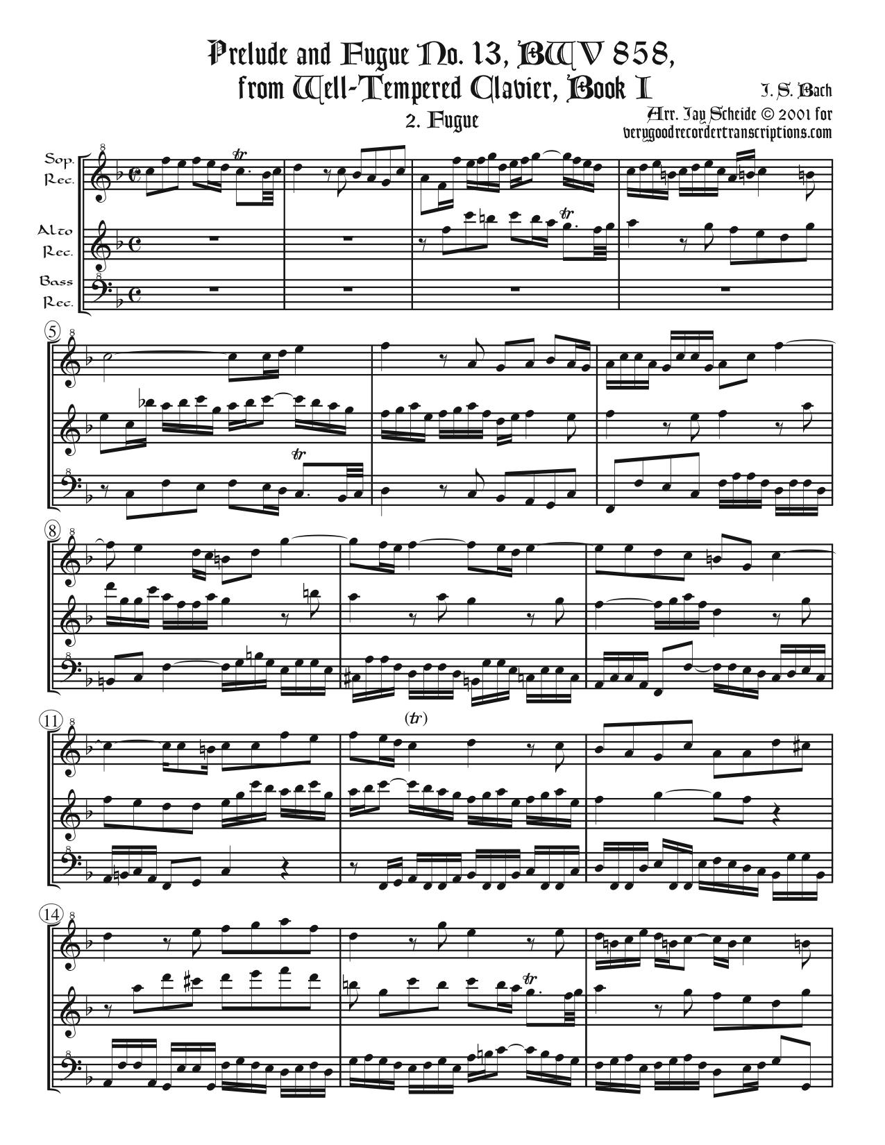 Fugue No. 13, BWV 860/2, arr. for SAB recorders