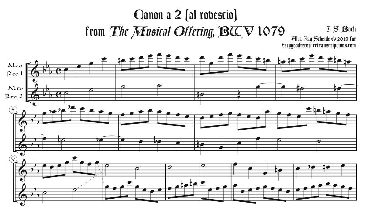 Al Rovescio Canon from the *Musical Offering*
