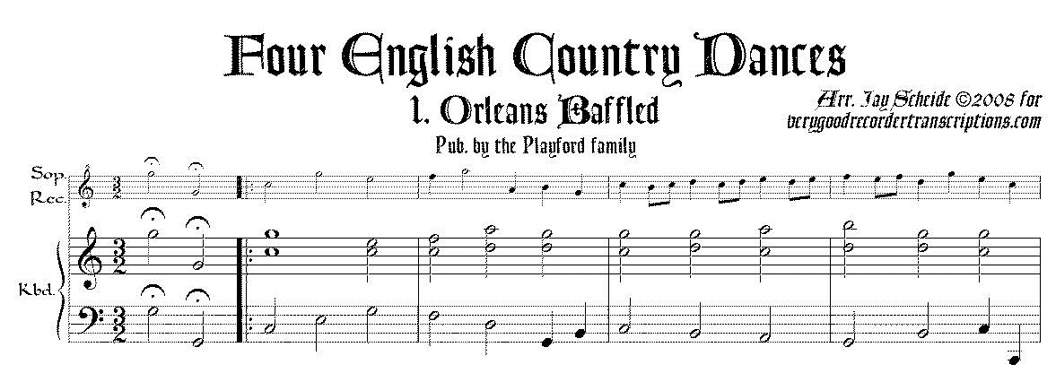 Four English Country Dances, arr. for soprano recorder & keyboard