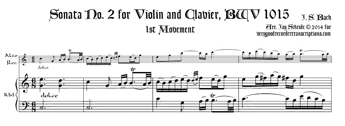 Sonata No. 2 for Violin & Keyboard, BWV 1015